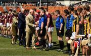 11 November 2018; David Hurley, Governor of New South Wales, is introduced to referee James Owens before the Wild Geese Cup match between Galway and Kilkenny at Spotless Stadium in Sydney, Australia. Photo by Ray McManus/Sportsfile