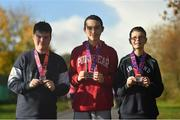13 November 2018; Tyrone Meade, left, along with Andrew Quirke, centre, and Raymond Costin from the Mayfield Foroige Youth Project in Cork who were awarded medals at the Ballincollig parkrun on Saturday for taking part in 'Run for Fun'. 'Run for Fun' is a programme developed by Vhi in partnership with the Irish Youth Foundation to encourage young people living in disadvantaged communities in Ireland to embrace the benefits offered through running. To find out more about 'Run for Fun' log onto the Irish Youth Foundation website at www.iyf.ie.   Photo by Piaras Ó Mídheach/Sportsfile