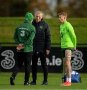 12 November 2018; James McClean with team physiotherapists Ciaran Murray, left, and Colin Dunlevy during a Republic of Ireland training session at the FAI National Training Centre in Abbotstown, Dublin.  Photo by Stephen McCarthy/Sportsfile