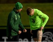 12 November 2018; James McClean with team physiotherapist Ciaran Murray during a Republic of Ireland training session at the FAI National Training Centre in Abbotstown, Dublin.  Photo by Stephen McCarthy/Sportsfile