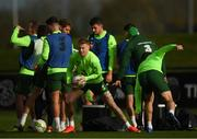 12 November 2018; James McClean and Seamus Coleman, right, play gaelic football during a Republic of Ireland training session at the FAI National Training Centre in Abbotstown, Dublin.  Photo by Stephen McCarthy/Sportsfile