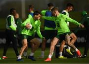 12 November 2018; Seamus Coleman and James McClean play gaelic football during a Republic of Ireland training session at the FAI National Training Centre in Abbotstown, Dublin.  Photo by Stephen McCarthy/Sportsfile