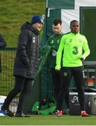 12 November 2018; Republic of Ireland manager Martin O'Neill and Michael Obafemi during a Republic of Ireland training session at the FAI National Training Centre in Abbotstown, Dublin.  Photo by Stephen McCarthy/Sportsfile