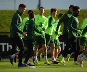 12 November 2018; Robbie Brady, centre, during a Republic of Ireland training session at the FAI National Training Centre in Abbotstown, Dublin.  Photo by Stephen McCarthy/Sportsfile