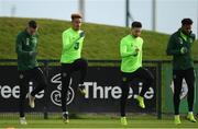 12 November 2018; Republic of Ireland players, from left, Shaun Williams, Callum Robinson, Sean Maguire and Cyrus Christie during a Republic of Ireland training session at the FAI National Training Centre in Abbotstown, Dublin.  Photo by Stephen McCarthy/Sportsfile