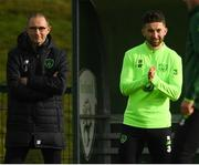 12 November 2018; Sean Maguire and Republic of Ireland manager Martin O'Neill during a Republic of Ireland training session at the FAI National Training Centre in Abbotstown, Dublin.  Photo by Stephen McCarthy/Sportsfile