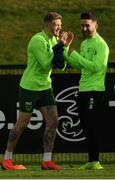 12 November 2018; James McClean, left, and Sean Maguire during a Republic of Ireland training session at the FAI National Training Centre in Abbotstown, Dublin.  Photo by Stephen McCarthy/Sportsfile