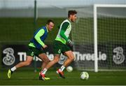 12 November 2018; Jeff Hendrick, right, and Glenn Whelan during a Republic of Ireland training session at the FAI National Training Centre in Abbotstown, Dublin.  Photo by Stephen McCarthy/Sportsfile