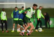 12 November 2018; Jeff Hendrick and Lee O'Connor during a Republic of Ireland training session at the FAI National Training Centre in Abbotstown, Dublin.  Photo by Stephen McCarthy/Sportsfile