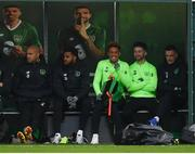12 November 2018; Republic of Ireland players, from left, Darren Randolph, Cyrus Christie, Callum Robinson, Sean Maguire and Shaun Williams during a Republic of Ireland training session at the FAI National Training Centre in Abbotstown, Dublin.  Photo by Stephen McCarthy/Sportsfile