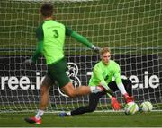 12 November 2018; Caoimhin Kelleher saves from Jeff Hendrick during a Republic of Ireland training session at the FAI National Training Centre in Abbotstown, Dublin.  Photo by Stephen McCarthy/Sportsfile