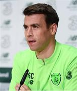12 November 2018; Seamus Coleman during a Republic of Ireland press conference at the FAI National Training Centre in Abbotstown, Dublin.  Photo by Stephen McCarthy/Sportsfile