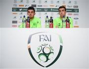 12 November 2018; John Egan, left, and Seamus Coleman during a Republic of Ireland press conference at the FAI National Training Centre in Abbotstown, Dublin.  Photo by Stephen McCarthy/Sportsfile