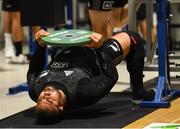 12 November 2018; Nepo Laulala during a New Zealand Rugby gym session at the Sport Ireland Institute in Abbotstown, Dublin. Photo by Ramsey Cardy/Sportsfile