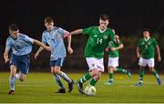 12 November 2018; Oran Crowe of Republic of Ireland in action against Orrin McLaughlin and Conor Bradley of Northern Ireland during the U16 Victory Shield match between Republic of Ireland and Northern Ireland at Mounthawk Park in Tralee, Kerry. Photo by Brendan Moran/Sportsfile