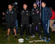 12 November 2018; New Zealand All Blacks players, from left, Codie Taylor, Ryan Crotty and Kieran Read with Dublin footballer Dean Rock during the AIG Skills Challenge, which brought together the All Ireland Champions, Dublin, and the World Rugby Champions, the New Zealand All Blacks' for a head to head sporting challenge in Castleknock Golf Club.  Photo by Ramsey Cardy/Sportsfile