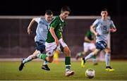 12 November 2018; Oliver O'Neill of Republic of Ireland in action against Conor Bradley of Northern Ireland during the U16 Victory Shield match between Republic of Ireland and Northern Ireland at Mounthawk Park in Tralee, Kerry. Photo by Brendan Moran/Sportsfile