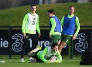 13 November 2018; Harry Arter is tackled by Robbie Brady during a Republic of Ireland training session at the FAI National Training Centre in Abbotstown, Dublin. Photo by Stephen McCarthy/Sportsfile