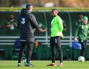 13 November 2018; Michael Obafemi and Republic of Ireland assistant manager Roy Keane during a Republic of Ireland training session at the FAI National Training Centre in Abbotstown, Dublin. Photo by Stephen McCarthy/Sportsfile