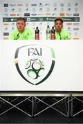 13 November 2018; Aiden O'Brien, left, and Callum Robinson during a Republic of Ireland press conference at the FAI National Training Centre in Abbotstown, Dublin. Photo by Stephen McCarthy/Sportsfile