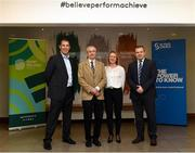 13 November 2018; SAS sign-up as multi-year partner to Sport Ireland Institute. Pictured are, from left, CEO of SAS Analytics Scott Comber, CEO of Sport Ireland John Treacy, Marketing Director of SAS UK & Ireland Rachel Lockwood and Director of Sport Ireland Institute Liam Harbison at Sport Ireland Institute National Sports Campus in Blanchardstown, Dublin.  Photo by Harry Murphy/Sportsfile