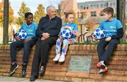 14 November 2018; In attendance during Street Football Legends Launch are, from left, Murphy Alade, aged 11, Johnny Giles, Caoimhe Nannery, aged 8 and Cameron Tormey, aged 11, at Ormond Square, in Dublin. Photo by Sam Barnes/Sportsfile