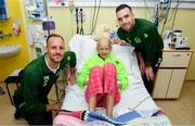 13 November 2018; Freya Fitzpatrick, age 13, from Dublin, with players, David Meyler, left, and Shane Duffy of Republic of Ireland during a visit to Our Lady's Children's Hospital from Republic of Ireland and Northern Ireland players at St John's Ward Our Lady's Children's Hospital in Crumlin, Dublin. Photo by David Fitzgerald/Sportsfile