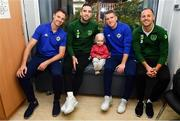 13 November 2018; Ellen Meehan, age 2, from Mount Merrion, Co Dublin with players, from left, Jonny Evans of Northern Ireland, Shane Duffy of Republic of Ireland, Steven Davis of Northern Ireland and David Meyler of Republic of Ireland during a visit from Republic of Ireland and Northern Ireland players to Our Lady's Children's Hospital at St John's Ward Our Lady's Children's Hospital in Crumlin, Dublin. Photo by David Fitzgerald/Sportsfile