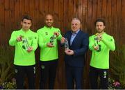 14 November 2018; Seamus Coleman, Darren Randolph and Harry Arter pictured with Padraig McEneaney CEO of Celtic Pure Irish Spring Water, who are the official water partner to the FAI, launching their new product range 'Hint of Fruit' ahead of the Ireland friendly against Northern Ireland this Thursday. The 'Hint of Fruit' range is natural fruit flavoured still spring water containing only natural flavours, no sugar or artificial sweeteners and with added vitamins. Castleknock Hotel in Dublin. Photo by Stephen McCarthy/Sportsfile