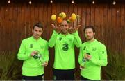 14 November 2018; Seamus Coleman, Darren Randolph and Harry Arter pictured with Celtic Pure Irish Spring Water, who are the official water partner to the FAI, launching their new product range 'Hint of Fruit' ahead of the Ireland friendly against Northern Ireland this Thursday. The 'Hint of Fruit' range is natural fruit flavoured still spring water containing only natural flavours, no sugar or artificial sweeteners and with added vitamins. Castleknock Hotel in Dublin. Photo by Stephen McCarthy/Sportsfile