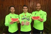 14 November 2018; Harry Arter, Seamus Coleman and Darren Randolph pictured with Celtic Pure Irish Spring Water, who are the official water partner to the FAI, launching their new product range 'Hint of Fruit' ahead of the Ireland friendly against Northern Ireland this Thursday. The 'Hint of Fruit' range is natural fruit flavoured still spring water containing only natural flavours, no sugar or artificial sweeteners and with added vitamins. Castleknock Hotel in Dublin. Photo by Stephen McCarthy/Sportsfile