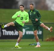 14 November 2018; Robbie Brady, left, and David Meyler during a Republic of Ireland training session at the FAI National Training Centre in Abbotstown, Dublin. Photo by Stephen McCarthy/Sportsfile