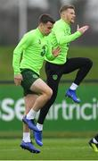 14 November 2018; Seamus Coleman, left, and James McClean during a Republic of Ireland training session at the FAI National Training Centre in Abbotstown, Dublin. Photo by Stephen McCarthy/Sportsfile