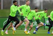 14 November 2018; Robbie Brady, centre, and Seamus Coleman, right, during a Republic of Ireland training session at the FAI National Training Centre in Abbotstown, Dublin. Photo by Stephen McCarthy/Sportsfile