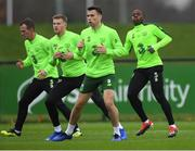 14 November 2018; Republic of Ireland players, from left, Glenn Whelan, James McClean, Seamus Coleman and Michael Obafemi during a training session at the FAI National Training Centre in Abbotstown, Dublin. Photo by Stephen McCarthy/Sportsfile