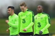14 November 2018; Michael Obafemi, right, with team-mates Enda Stevens, left, and Ronan Curtis during a Republic of Ireland training session at the FAI National Training Centre in Abbotstown, Dublin. Photo by Stephen McCarthy/Sportsfile