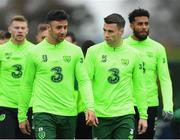 14 November 2018; Republic of Ireland players, from left, James McClean, Enda Stevens, Seamus Coleman and Cyrus Christie during a training session at the FAI National Training Centre in Abbotstown, Dublin. Photo by Stephen McCarthy/Sportsfile