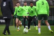 14 November 2018; Callum O'Dowda, left, and Cyrus Christie, right, during a Republic of Ireland training session at the FAI National Training Centre in Abbotstown, Dublin. Photo by Stephen McCarthy/Sportsfile