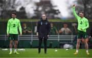 14 November 2018; Republic of Ireland manager Martin O'Neill with Robbie Brady, left, and Aiden O'Brien, right, during a training session at the FAI National Training Centre in Abbotstown, Dublin. Photo by Stephen McCarthy/Sportsfile