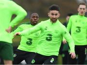 14 November 2018; Michael Obafemi, left, and Sean Maguire during a Republic of Ireland training session at the FAI National Training Centre in Abbotstown, Dublin. Photo by Stephen McCarthy/Sportsfile