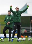 14 November 2018; Shane Duffy, right, and Republic of Ireland assistant manager Roy Keane during a Republic of Ireland training session at the FAI National Training Centre in Abbotstown, Dublin. Photo by Stephen McCarthy/Sportsfile