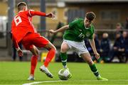 14 November 2018; Louis Barry of Republic of Ireland in action against Matthew Baker of Wales during the U16 Victory Shield match between Republic of Ireland and Wales at Mounthawk Park in Tralee, Kerry. Photo by Brendan Moran/Sportsfile