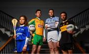14 November 2018; Provincial club players, from left, Meighan Farrell of Thomastown and Kilkenny, Ian Burke of Corofin and Galway, Shane Dowling of Na Piarsaigh and Limerick and Micheál Burns of Dr. Crokes' and Kerry. AIB is in its 28th season sponsoring the GAA Club Championship and will celebrate their 6th season sponsoring the Camogie Association. AIB is delighted to continue to support Senior, Junior and Intermediate Championships across football, hurling, and camogie. For exclusive content and behind the scenes action throughout the AIB GAA & Camogie Club Championships follow AIB GAA on Facebook, Twitter, Instagram and Snapchat and www.aib.ie/gaa. Photo by David Fitzgerald/Sportsfile