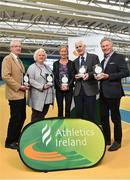 14 November 2018; Author Peter Byrne, second right, with, from left, CEO of Sport Ireland John Treacy, President of Athletics Ireland Georgina Drumm, Irish long distance runner Catherina McKiernan, and former Irish Olympian Eamonn Coghlan, during the launch of his new book, 'Winning for Ireland - How Irish Athletes Conquered The World', at the National Indoor Arena in Abbotstown, Dublin. Photo by Seb Daly/Sportsfile