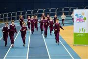 14 November 2018; Students from St Brigid's National School, Castleknock, complete their Daily Mile prior to the launch of 'Winning for Ireland - How Irish Athletes Conquered The World', at the National Indoor Arena in Abbotstown, Dublin. Photo by Seb Daly/Sportsfile