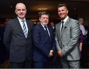9 November 2018; FAI President Donal Conway, centre, with Tom Dennigan, left, from Continental Tyres, and Republic of Ireland Woman's National team manager Colin Bell in attendance during the Continental Tyres Women's National League Awards at Ballsbridge Hotel, in Dublin. Photo by Matt Browne/Sportsfile