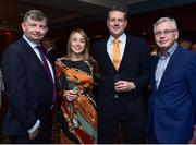 9 November 2018; Aoife McDonald, Cullen Communications, with, from left, Eddie Ryan, Advance Pitstop, Peter Robb, Continental Tyres, and Pearse O'Loughlin, Cullen Communications, in attendance during the Continental Tyres Women's National League Awards at Ballsbridge Hotel, in Dublin. Photo by Matt Browne/Sportsfile