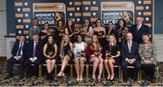 9 November 2018; The Continental Tyres team of the year, back row, from left, Republic of Ireland manager Colin Bell, Megan Smith-Lynch from Peamount United, Louise Corrigan from Peamount United, Lauren Dwyer from Wexford Youths, Niamh Farrelly from Peamount United, Kylie Murphy from Wexford Youths, Seana Cooke from Shelbourne, Frances Smith, Women's National League Committee, Fran Gavin, Competition Director, Football Association of Ireland, front row, from left, FAI President Donal Conway, Eddie Ryan, Marketing Director, Advance Pitstop, Aislinn Meaney from Galway Women's, Erica Turner, Young player of the year, from UCD Waves, Rianna Jarrett, Player of the year, from Wexford Youths, Amber Barrett, Top Goalscorer, from Peamount United, Eabha O'Mahony from Cork City, Tom Dennigan, from Continental Tyres and Niamh O'Donoghue, Chairperson, FAI Women's Football Committee during the Continental Tyres Women's National League Awards at Ballsbridge Hotel, in Dublin. Photo by Matt Browne/Sportsfile