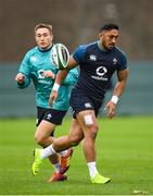 15 November 2018; Bundee Aki and Jordan Larmour during Ireland Rugby squad training at Carton House in Maynooth, Co. Kildare. Photo by Harry Murphy/Sportsfile