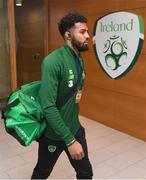 15 November 2018; Cyrus Christie of Republic of Ireland arrives prior to the International Friendly match between Republic of Ireland and Northern Ireland at the Aviva Stadium in Dublin. Photo by Stephen McCarthy/Sportsfile